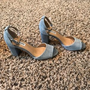 Steve Madden light blue leather upper block heels